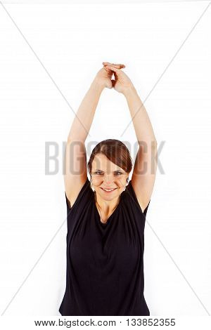 Attractive Woman Trains  Yoga