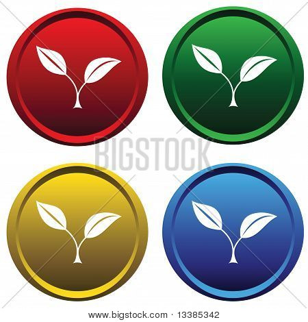 Four buttons with a plants