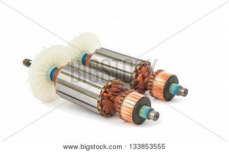 machine Electric motor rotor isolated white background