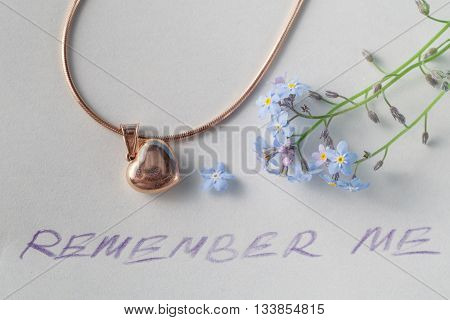 Forget-me-not Flower On Note
