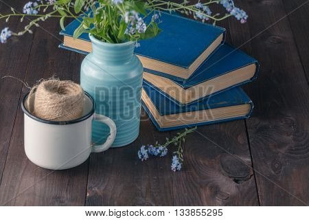 Forget Me Not And Old Books