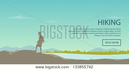 Climbing, hiking, backpacking, walking. Outdoor, sport, nature. Flat design. Outdoor recreation concept. Travel with backpack. Camping. Landscape.