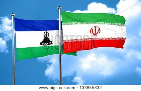 Lesotho flag with Iran flag, 3D rendering