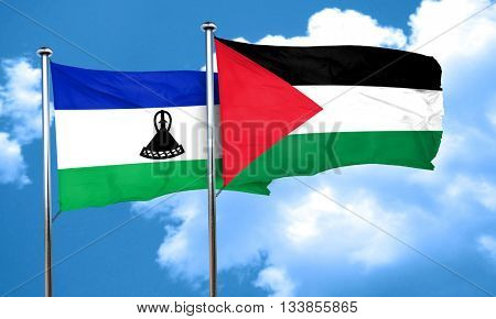 Lesotho flag with Palestine flag, 3D rendering