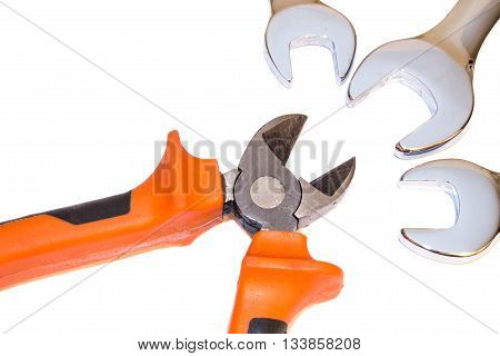 many tools isolated on the white background
