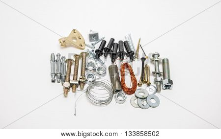 closeup detailed view of various multiple home care accessories isolated on grey