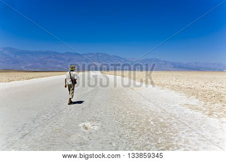 Badwater deepest point in the USA Saltsee mixed with minerals in the Desert Valley deeper than sea level