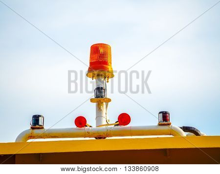 lighting signal lamp installed outdoor on warning equipment to precaution some risk situations