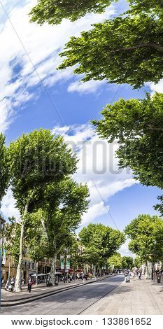 AIX LE PROVENCE FRANCE - JUNE 3 2016: people enjoy walking at main touristic alley in Aix le Provence the rue Cours Mirabeau with plane trees France.