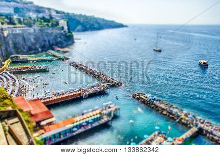 Aerial View Of Sorrento Harbour, Italy. Tilt-shift Effect Applied