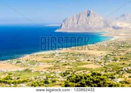 Panoramic View Over Sicilian Coastline. Tilt-shift Effect Applied