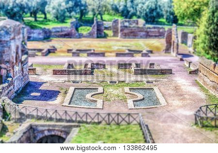 Ruins At Villa Adriana Tivoli, Italy. Tilt-shift Effect Applied