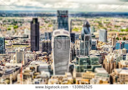Aerial View Of The London City Skyline. Tilt-shift Effect Applied