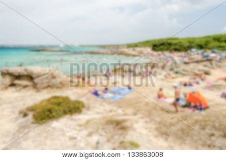 Defocused Background Of Beach Near Gallipoli In Salento, Apulia, Italy