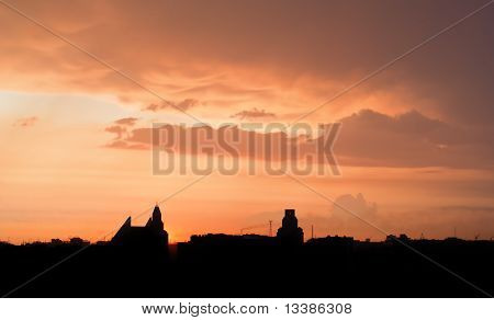 Sunset Over Of City