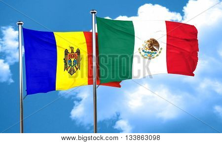Moldova flag with Mexico flag, 3D rendering