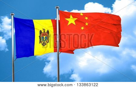 Moldova flag with China flag, 3D rendering