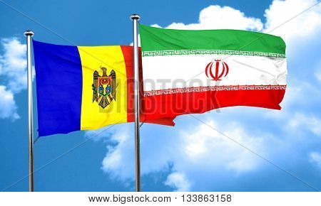 Moldova flag with Iran flag, 3D rendering