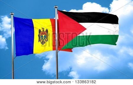 Moldova flag with Palestine flag, 3D rendering