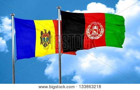 Moldova flag with afghanistan flag, 3D rendering
