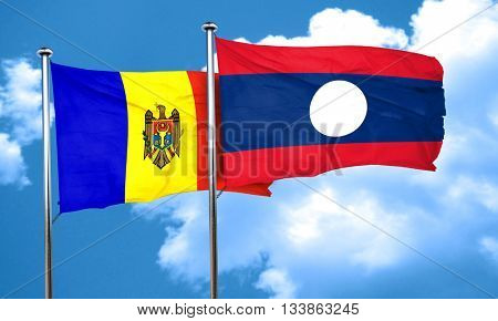 Moldova flag with Laos flag, 3D rendering