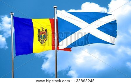 Moldova flag with Scotland flag, 3D rendering