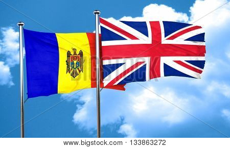 Moldova flag with Great Britain flag, 3D rendering