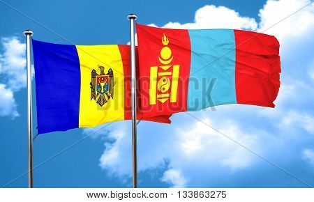 Moldova flag with Mongolia flag, 3D rendering