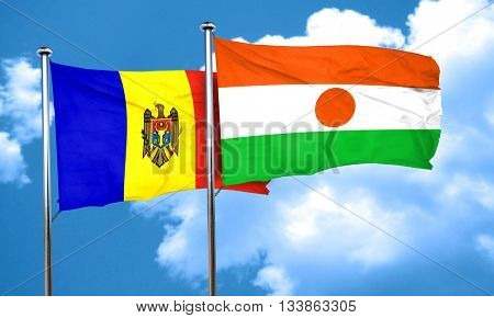 Moldova flag with Niger flag, 3D rendering