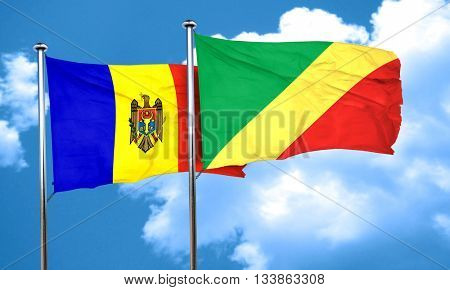 Moldova flag with congo flag, 3D rendering