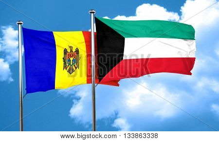 Moldova flag with Kuwait flag, 3D rendering