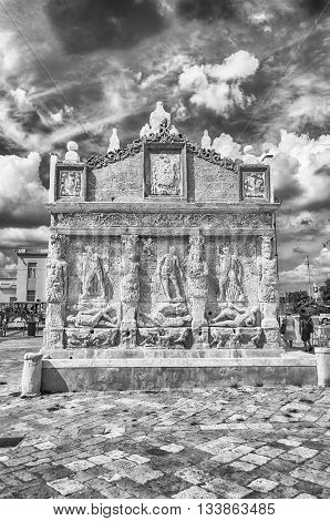 Greek Fountain, Iconic Landmark In Gallipoli, Apulia, Italy