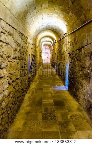 Interior View Of The Angevine-aragonese Castle In Gallipoli, Italy