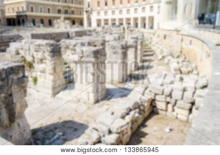 Defocused Background With Roman Amphitheatre In Sant'oronzo Square, Lecce