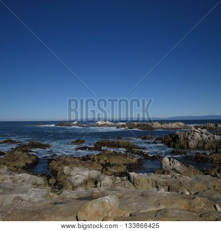 This is an ocean view from Point Lobos State Preserve in Carmel, California, U.S.A.