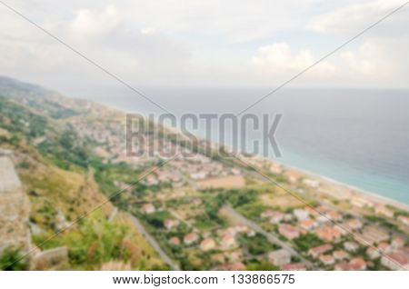 Defocused Background With Aerial View Over The Coastline In Italy