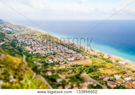 Aerial View Of Coastline In Calabria, Italy. Tilt-shift Effect Applied