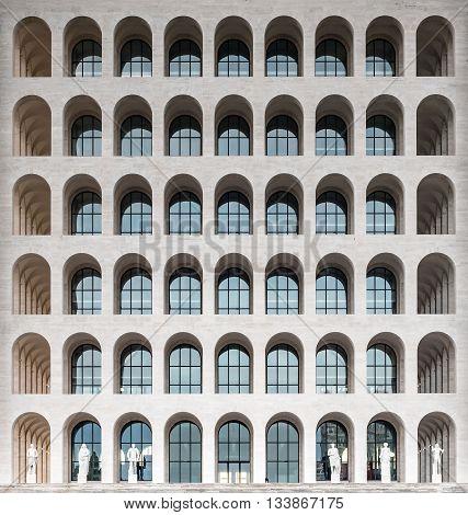 ROME - MARCH 12: The Palazzo della Civilta Italiana aka Square Colosseum in Rome March 12 2016. The monument lies in the EUR financial district in Rome