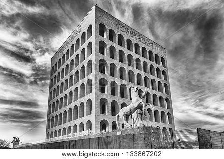 The Palazzo Della Civilta Italiana, Aka Square Colosseum, Rome, Italy