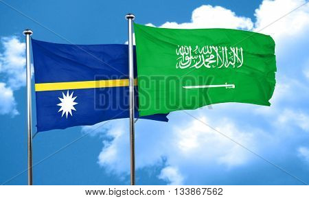 Nauru flag with Saudi Arabia flag, 3D rendering