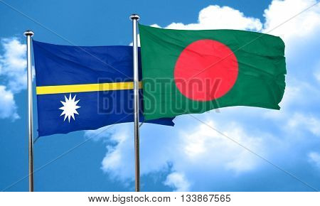 Nauru flag with Bangladesh flag, 3D rendering