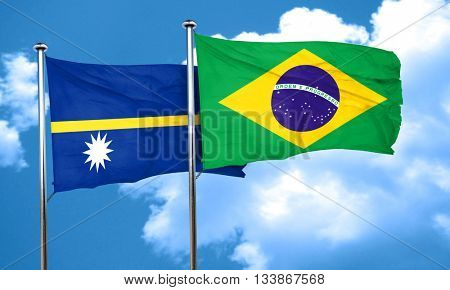Nauru flag with Brazil flag, 3D rendering