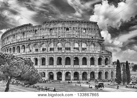 Exterior of the Flavian Amphitheatre aka Colosseum in Rome Italy