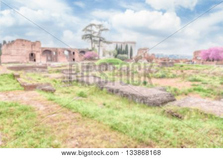 Defocused Background With Ruins Of The Palatine Hill In Rome