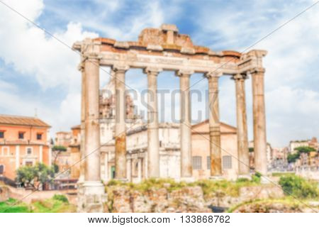 Defocused Background With Ruins Of Saturn Temple In Rome, Italy