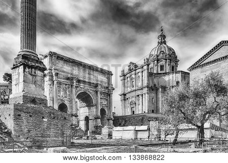Scenic View Over The Ruins Of The Roman Forum, Italy