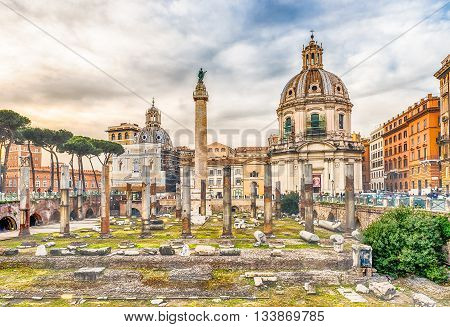 Scenic Ruins Of The Trajan's Forum And Column In Rome