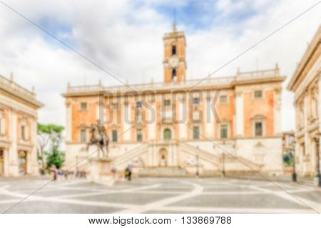 Defocused Background Of Piazza Del Campidoglio, City Hall Of Rome
