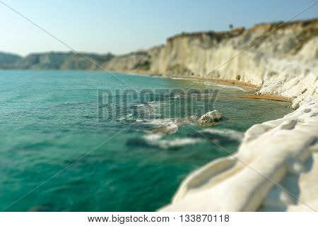 Rocky White Cliffs In Sicily, Italy. Tilt-shift Effect Applied