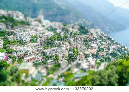 Aerial View Of Positano Village On The Amalfi Coast. Tilt-shift Effect Applied